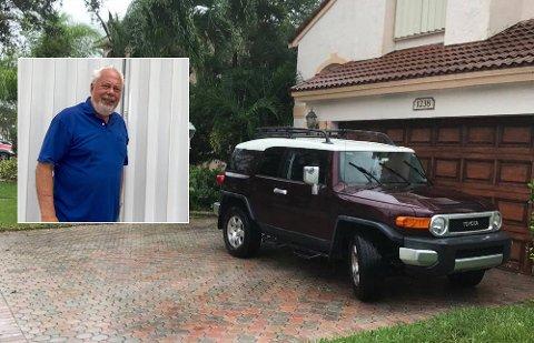 EKSTREMVÆR: Willy Hansen, som flyttet fra Sandefjord til Florida i 1981, befinner seg i Davie, én av byene som nå opplever orkanen Irmas krefter. Bildet er tatt utenfor Hansens bolig mens regn og vind pisket rundt husveggene.