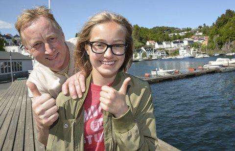 Flott initiativ: Takket være Tomine Støle Tegdan (13) blir det ekstrakonsert med Madcon til fredag, før hovedkonserten. Nå håper hun og pappa, Espen tegdan, at det blir fullt i Bakkeskåt-teltet.