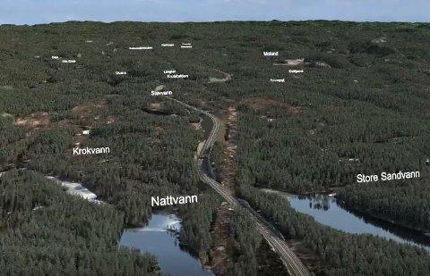 Nye Veier har tegnet inn en skjæring her ved Sandvann, men det er ikke et forpliktende forslag.