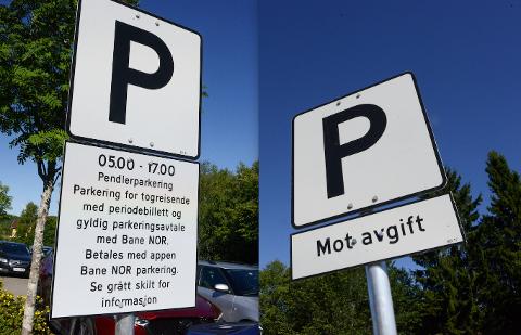 OLE BRUM: Ja takk, begge deler, pleier Ole Brum å si. Og Europark på Nittedal stasjon. Disse skiltene står i hver sin ende på samme parkeringsplass.