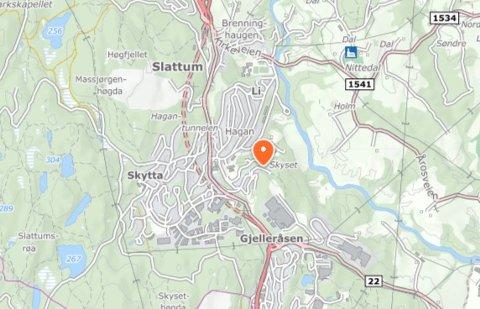 PRIVATFESTPLASS:Kart som viser Snarefjellet på Hagan.