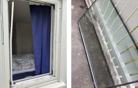 PROFESJONELLE FOLK: Bilde av soveromsvinduet i Karusveien som tjuvene har fjernet for å komme seg inn.
