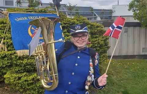 FRA I FJOR: Monika Kjønsø sendte oss bildet av denne korpsmusikanten i fjor.