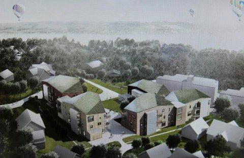 FEM BYGNINGSKROPPER: Den planlagte bebyggelsen  deles opp i fem bygningskropper som denne tegningen viser.