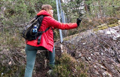 – Er det her barnefamilier skal ta seg fram, i stedet for å få gå noen meter på grusvei langs sjøen, spør Liselotte Krøger. (Klikk på pilene og se flere bilder fra Spro Havn.)