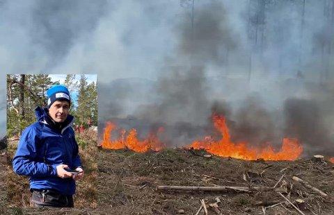 Peder Enger så flammene herje i skogen i Ytre Enebakk.