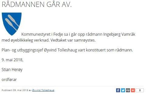 Her er meldinga Fedje kommune har lagt ut på nettsidene sine onsdag.