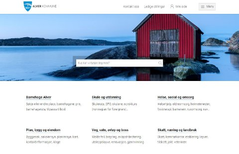 Slik ser den nye nettsida til nye Alver kommune ut.