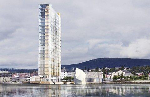 Fauske tower: Slik vil det nye hotellet ta seg ut, sett fra havet. Bygget blir ikke mer enn 10 meter bredt. Illustrasjon: Snøhetta