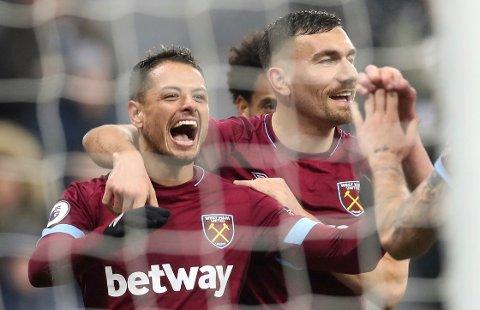 West Ham og Javier Hernandez (t.v.) skal slå bortesvake Watford i lørdagens London-oppgjør.  (Owen Humphreys/PA via AP)