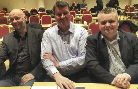 Jørn Eggum (t.h.) i Fellesforbundet ville forhandle sammen med Stein Lier Hansen i Norsk Industri (t.v.) i forbundsvise oppgjør.  I stedet blir det  LO-leder Hans Christian Gabrielsen (i midten) som skal lede tariff-forhandlingene med NHO, anbefaler LOs inntektspolitiske utvalg. FOTO: DAG BJØRNDAL
