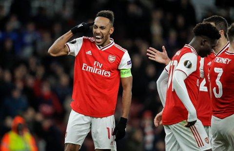 vi tror at Pierre-Emerick Aubameyang og Arsenal kjører over Brighton fra start i kveld.   (AP Photo/Matt Dunham)