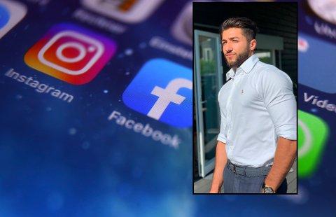 HACKET: Hasib Rahman Rahimi (innfelt) ble sperret ute av sin egen Instagram-konto av det som viste seg å være en hacker.