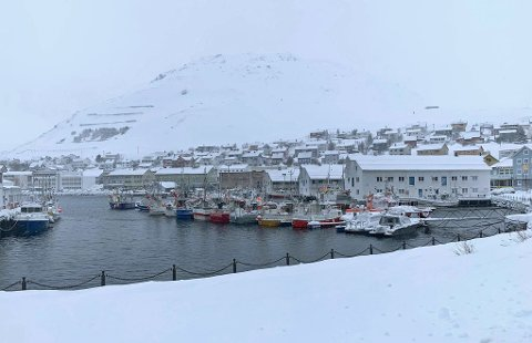 HONNINGSVÅG: Slik så det ut i havna tidlig mandag ettermiddag.