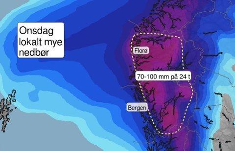VÅTT: Det er venta opp mot 100 mm nedbør på Vestlandet onsdag.