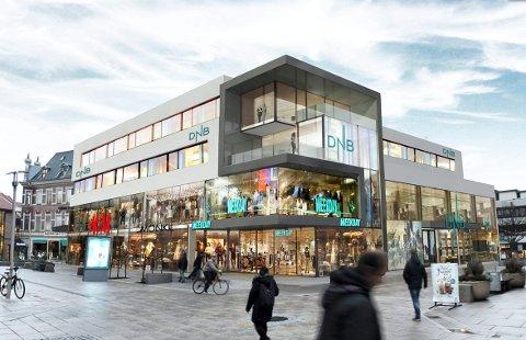 Slik blir den nye fasaden.  Inngangen til banken flyttes fra hjørnet til området ved Ferner Jacobsen.