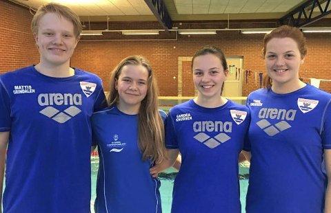 Startklare: Mattis Grindalen Svendsen (til venstre), Mia Gulbrandsen, Sandra Knudsen og Tiril Knudsen er klare for Årsklassemesterskapet i Mandal.