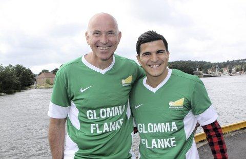 STOLT: Trond «Kurte» Andreassen (til venstre) tror Tarik Elyounoussi vil gjøre en flott jobb som ambassadør for prosjektet Glommaflanke. Foto: Vidar Henriksen