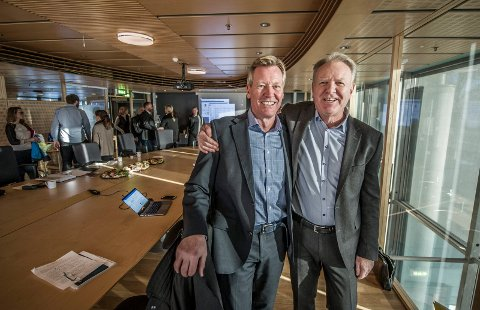 Administrerende direktør Trond Delbekk i Værste (til venstre) og styreleder Jon Aage Sørensen i Jotne Eiendom skal utvikle FMV Vest, Fredrikstads største utbyggingsområde noen sinne. Nå møter de nye detaljerte krav fra politikerne, men får en høringsrunde.