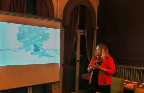 Skurskisse: Bjørg Johnsrud Western kunne vise kulturpolitikerne en skisse på venteskuret på Isegran. Det ertenkt røft i stilen.