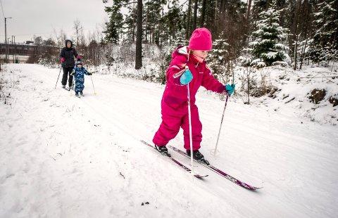 – Kjempemoro! Maja gikk på ski fra Veum og sørover med mamma Marthe Johansen og broren Jakob mandag formiddag. – Vi koser oss masse, sier de.