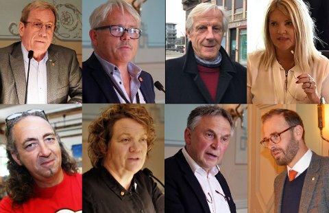 BRED ENIGHET: Disse politikerne er skjønt enige om hva partiene deres var med på å bestemme: varslinger skulle behandles eksternt. Øverst fra venstre Hans Ek (Sp), Bjørnar Laabak (Frp), Henning Aall (MDG), Rita Holberg (H), Jan-Kåre Fjeld (Bymijlølista), Camilla Eidsvold (SV), Lino Lubiana (KrF) og Trond Svandal (V).