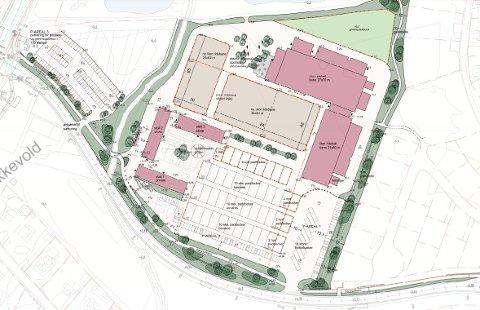 SLIK KAN DET BLI: Slik ser landskapsarkitektene for seg at de nye ridesenteret skal bli: Med blant annet to ridehaller, to ridebaner og hele 170 parkeringsplasser. Torsnesveien går litt nedenfor området.