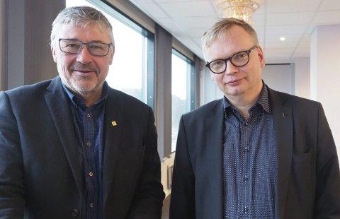 Fornøyde: Både Terje Steinsund, direktør i Futurum, og seksjonsleder foir næring i Nordland fylkeskommune, Terje Gustavsen, er fornøyde med Utviklingsprogram Narvikjregionen. Men det er ingen selvfølge at man klarer å finansiere en ny runde. Foto: Terje Næsje