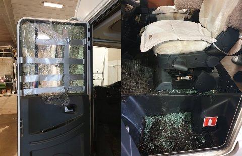 INNBRUDD: Gjerningspersonen hadde brutt opp døren i bobilen og knust vinduet.