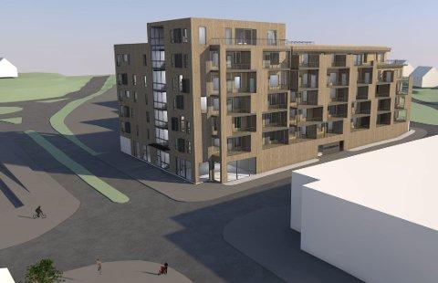 RUVER: Det planlagte leilighetskomplekset vil ruve i terrenget på tomta til den tidligere Esso-stasjonen i Glommengata. Til høyre det renoverte Coop-bygget.TEGNINGER: FUTHARK ARKITEKTER AS