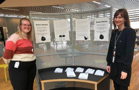 Linda Andersen Ness og Stine Raaden kommer med tips til data-detox på biblioteket.