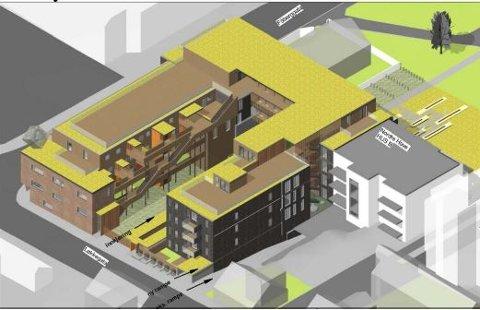 Den nye Margarinfabrikken sett fra sørøst, slik det er skissert i planforslaget.