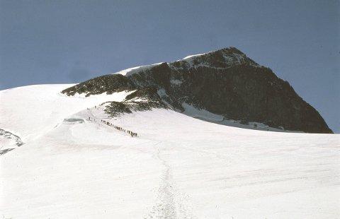 Etter Styggebreen, på veg til Galdhøpiggen, går folk like forbi den nyoppdaga 2.000-meterstoppen.