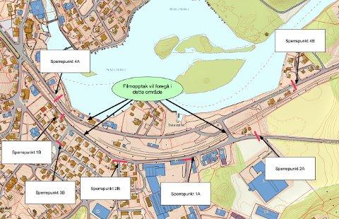 STENGER: TV-innspillingen til Monster stenger Skolegata, Aremarkveien og andre mindre veier i Tistedal på torsdag. Kartet viser hvor du kan måtte vente hvis du befinner deg i Tistedal mellom klokka 13 og 22 på torsdag.