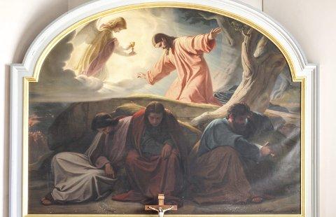 ALTERTAVLE: Det var biskop Eivind Bergrav som sørget for at maleriet fra Oslo domkirke kom til Asak i 1950. Oslobiskopen var oppvokst på Asak prestegård. Kunstneren som har malt bildet, Eduard von Steinle, har også malt engler i koret i domkirken i Köln. FOTO: JENS BAKKE