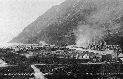 Odda sett fra sør – med Brendehaugen, jordene i bygda og smelteverket.
