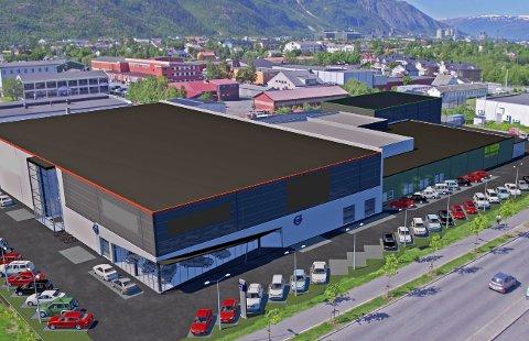 Slik: Slik ser Sonera Holding AS for seg at et nytt såkalt big box-konsept skal se ut på Nyrud. Skeidar er ønsket inn i byggets andre etasje, til venstre på skissen, mens Europris er ønsket inn i byggets første etasje. Felleskjøpet ses til høyre. Skisse: NXN Prosjektering AS