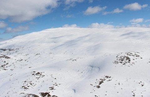 Her ser vi snøskuterspor på Helfjellet i Vefsn