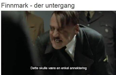SPREDT PÅ NETT: I denne videoen, som i disse dager spres på sosiale medier, blir Willy Ørnebakk fremstilt som diktatoren Adolf Hitler som er skuffet over at «annekteringen» av Finnmark ikke går rette veien.