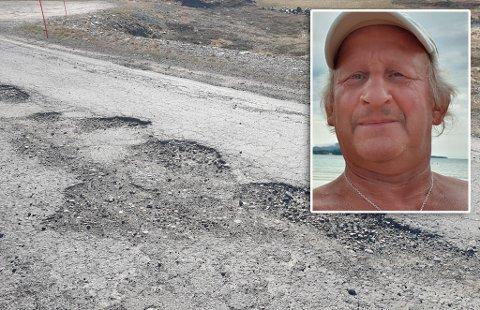 KOSTBART: Jan-Eric Bengtsson forteller at Fylkesvei 889 har ført til kostnader på 10.000-15.000 kroner i reparasjoner på bilene sine.