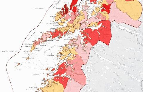 Fortsatt rød: Vågan kommune er fortsatt rød, men ikke så rød som Øksnes som for tiden er Norlands rødeste kommune.