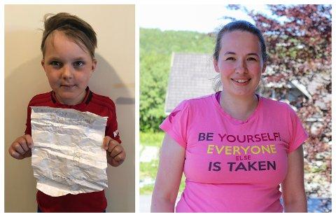 FUNNET: Tobias Schjølberg Bergan (8) fant flaskeposten Lene Stokka (33) sendte ut da hun selv var åtte år.