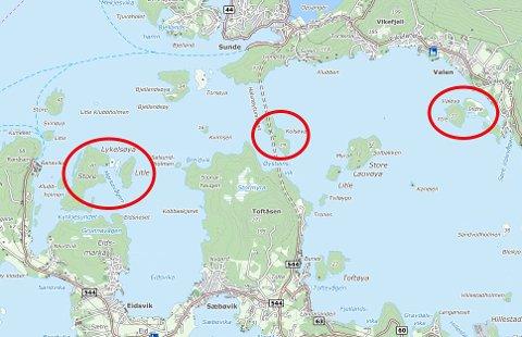 Løkjelsøy, Kolsøy og Valøy står i sentrum for det nye venelaget. (Kartutsnitt frå Fonnakart).