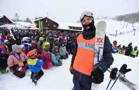 KJEMPEFORNØYD: Tevje A. Skaug var strålende fornøyd etter 11. plassen i ungdoms-OL i slopestyle. Bildet er fra Snowstock forrige vinter.