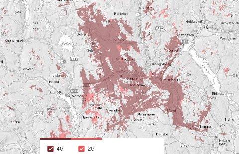 Områder rundt Kongsberg er uten dekning fredag kveld. Det røde feltet viser omfanget på feilen, før det senere på kvelden....