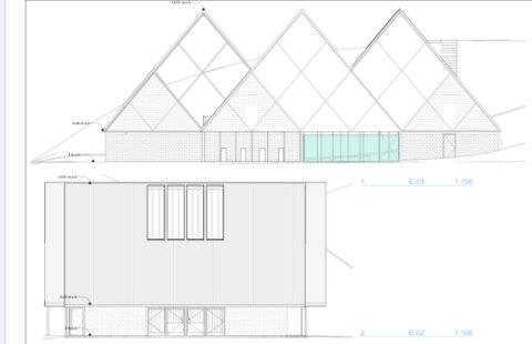 SKAL VISE LAKS: Slik blir det nye visningssenteret for oppdrett som Isqueen AS planlegger å bygge på Ure. Bygget er planlagt av Valrygg Arkitektstudio.