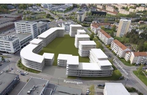 NYE PLANER: Ryensvingen kan få flere hundre nye leiligheter. Dette er alternativ 1a med 8 etasjer i hjørneblokken nordøst på området. Illustrasjon: Planconsult/Bugge Ravn Arkitekter