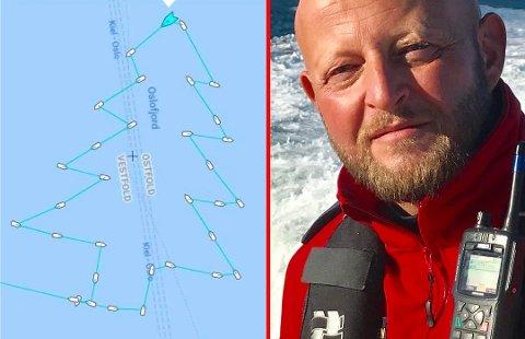 JULEHILSEN: Slik hilser båtfører Jan R. Kristiansen og resten av mannskapet om bord på RS «Eivind Eckbo» god jul.