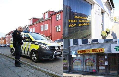 RAZZIA: Politiet gjennomførtei september 2017 ransakinger ved tre massasjeklinikker på to adresser i Skippergata i Tromsø. På bildet politibetjent Andreas Jota.