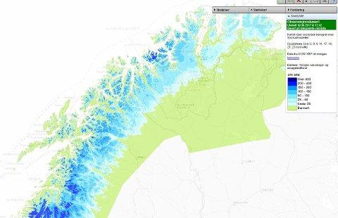 MYE SNØ: Kartet viser hvor mye snø som ligger igjen i fjellene i Troms.